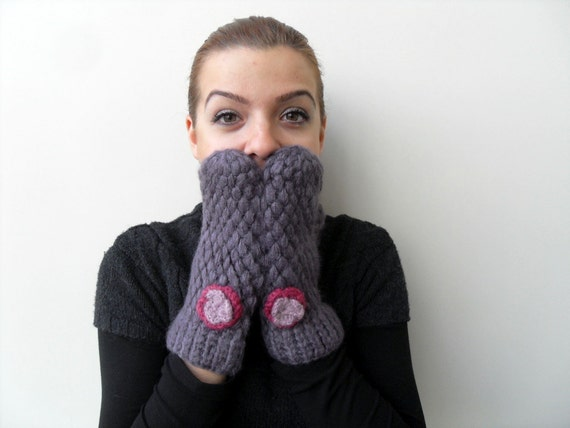 Mittens, Crochet Gloves, Crochet Mittens, Soft Angora, Gloves Gift For Her, Amethyst Violet Purple Plum Aubergine Pink Flowers