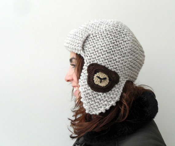 Pilot Hat, Teddy Bear Hat,Chocolate Brown, Teddy, Beige Hat, Knitted Beret, Earflap Hat, Aviator Hat
