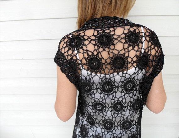 Crochet Lace Top, Crochet Vest, Summer Fashion, Beach Wear, Lace Tank, Black Top, Romantic Lace Top