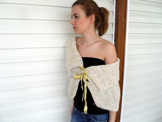 Capelet Wedding Shawl Ivory Capalet Summer Fashion With Yellow Bow Sand