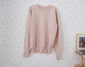 vintage pink sweater / knitted baby pink beige wool pullover / girls M womens XS