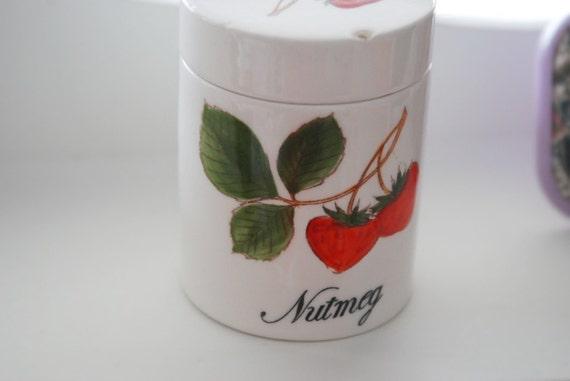 strawberry 'nutmeg' ceramic jar / white vintage kitchen spice container - made in japan
