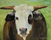 Animal Fine Art Giclee Canvas Print of Cow Painting Original Cow Painting by Cheri Wollenberg
