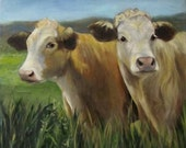 Cow Art Reproduction Pete and Repete Giclee Original Oil Painting by Cheri Wollenberg