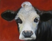 Cow Pictures Fine Art Print Black White Faced Red Background Bach Original Oil Painting by Cheri Wollenberg