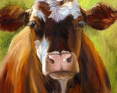 Animal Canvas PRINT, Cow Portrait, Mozart, Giclee Reproduction of Original Oil Painting Mozart  by Cheri Wollenberg