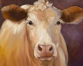 Canvas Giclee Print Animal Reproduction Cow Constanze Original Oil Painting by Cheri Wollenberg