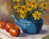 12x12x1  Canvas Print of Black Eyed Susans in Blue Enamelware Pot And Tomatoes an Original Painting by Cheri Wollenberg