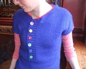 Rainbow Tee - hand knit fitted top in bright blue