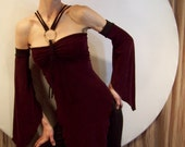 No bra required Eggplant Haute Tee Tunic with Peek a Boo back and matching arm cuffs