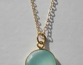 18K Gold Vermeil Bezeled Semiprecious Gemstone Necklace on Gold Filled Chain - Your Choice of GEMSTONE