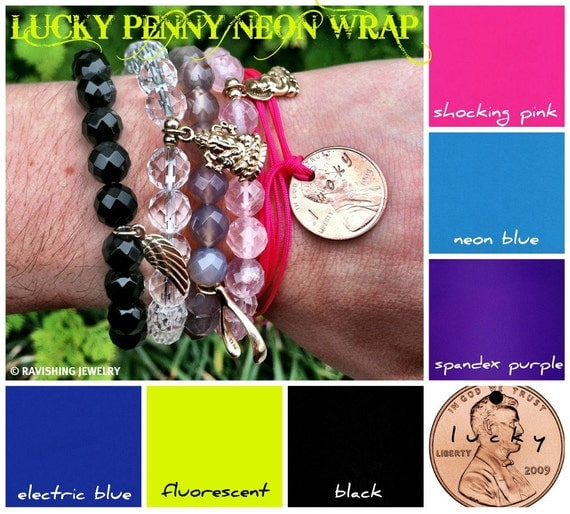 Hand Stamped Lucky Penny Neon Wrap Bracelet