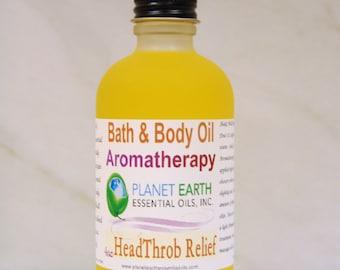 HEAD THROB Relief Aromatherapy Bath & Body Oil Holistic Healing Massage Oil Natural body Oil Migraine Relief  2oz Bottle Organic Body Oil
