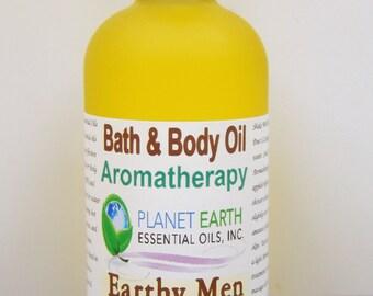 Earthy Men Aromatherapy Bath & Body Oil  Holistic Healing Massage Oil Organic Body Oil Natural Oil  Spa Relaxation 2oz Bottle   Organic