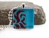 Cool Flames - Glass Tile Pendant Necklace