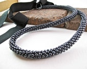 Hematite Silver Gray Kumihimo Bead Rope Necklace with Black Ribbon Closure - Night Sky