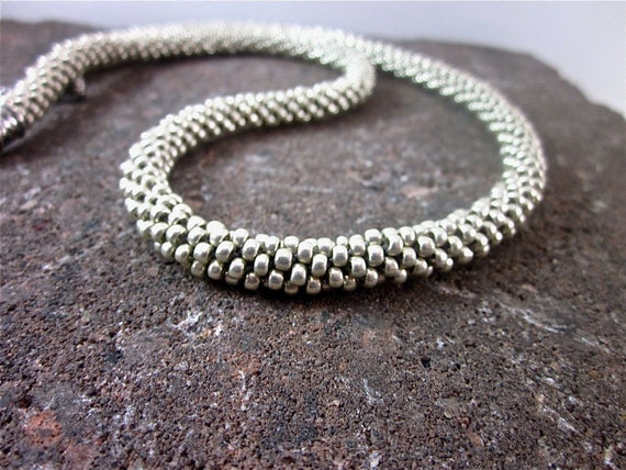 Silver Beaded Kumihimo Necklace and Bracelet, Versatile - Bubbling Brook