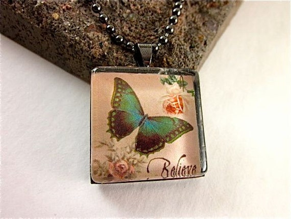 Gunmetal Framed Pendant Necklace - Believe Butterfly