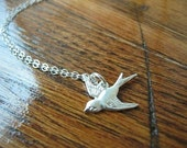 Silver swallow necklace--reserved for fionamd