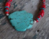 Chunky Red Coral and Turquoise Necklace