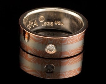 Mokume Gane Wedding Ring ( MK-Split Pattern W/Stone )