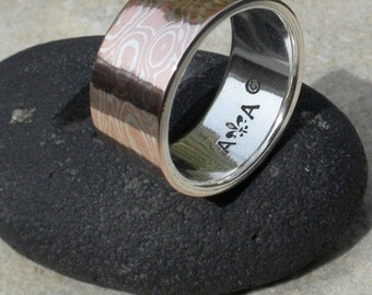 Mokume Gane Band.  ( MK-SOLID ) 10mm Wide Made To Order