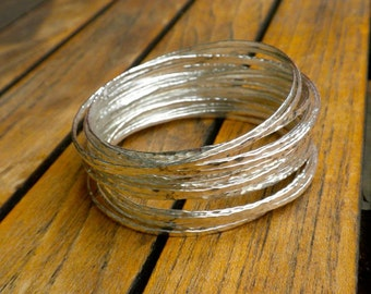 "20 Hammered Sterling Silver bangles 2.5"" - Medium"