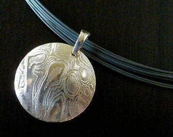 """Mokume Collection, 7/8"""" Etched Slide Pendent. Made To Order"""