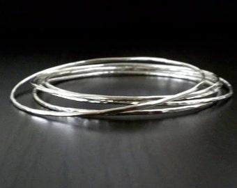 "5 -  2. 75"" Hammered Sterling Silver bangles - Medium"