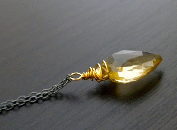 Custom Listing For Maria - Ready To Ship - Shield Cut Honey Quartz Drop Necklace ( AKA Light Citrine )