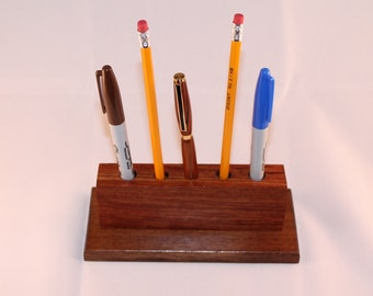 Wood Pencil Holder, Handmade, Desk Organizer, Home Office, Walnut & Bubinga, Pen Holder, C111