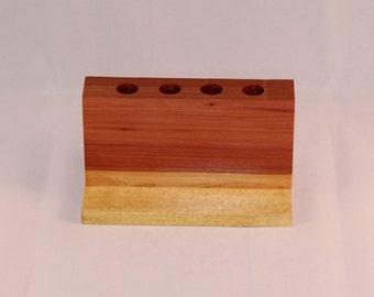 Handmade Cedar and Yellowheart Pencil Holder, Desk Organizer, C109