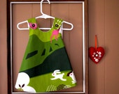 N E W - Hopping Bunnies - Little Girl's Dress- MADE-TO-ORDER