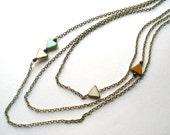 triangle necklace triple strand sky