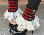 RED QUEEN hand knit striped button spats with ruffle - free shipping