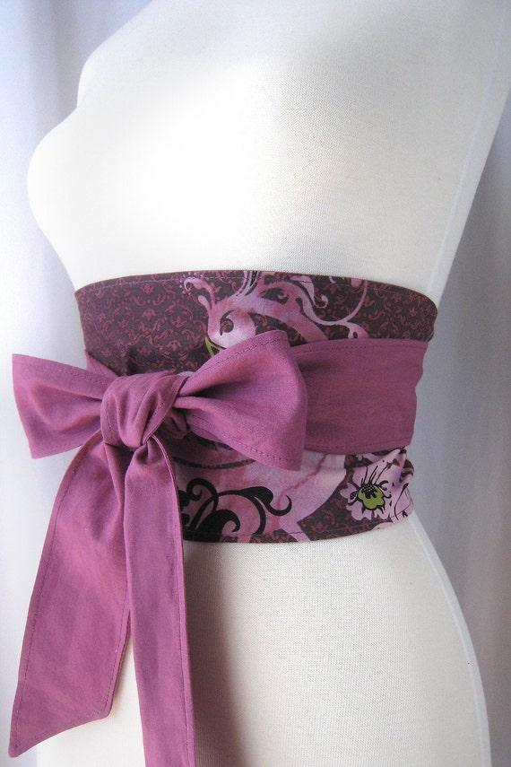 Romantic Rose Peacock Batik Print Reversible Obi Wrap Belt