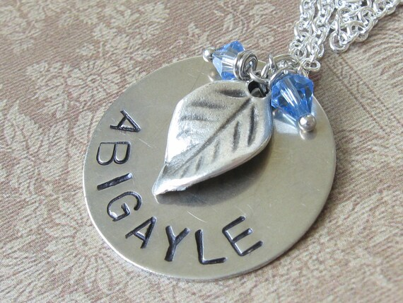 RESERVED for Courtney - SALE - Silver Disc Necklace with Leaf Charm