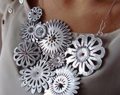 Silver Leather Spring Flowers with Tiny Gems