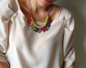 Summer Necklace with Colorful Patent Leather Flowers