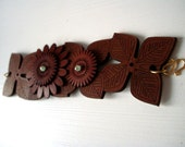 Brown Leather Flower Cuff with Flowers