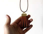 Necklace with Big Brown Leather Tassel