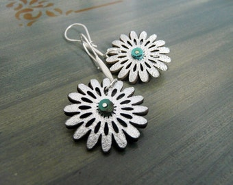 Silver Leather Flower Earrings