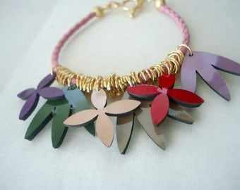 Leather Bracelet with Patent Leather Flowers