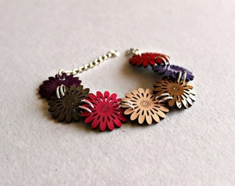Colorful Patent Leather Flower Bracelet