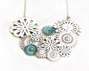 White Leather Spring Blossom Necklace With Tiny Blue Flowers