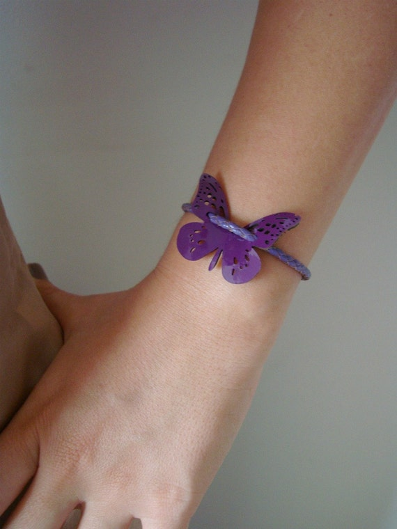 Patent Leather Bracelet with Lacy Butterfly in Purple