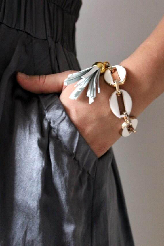 Enamel Chain Bracelet with a Tassel