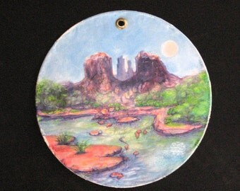 Sedona's Cathedral Rock , Original Oil Painting, Feminine Vortex, Red Rock Formation , sedona  Landscape