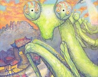 I  N  L  A  K' E S H - Praying Mantis - Uptown Sedona- Original Oils - psychedelic- canvas  - Sedona Red Rock- bugs - Lemurian Diamond, bibi