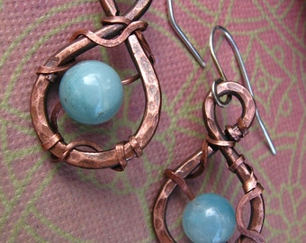 Amazonite earrings,  Spring Rain Earrings, Drop Hoop Earrings,  Antiqued Hammered Copper, blue stone, ooak,wire wrap, Lemurian Diamond, Bibi